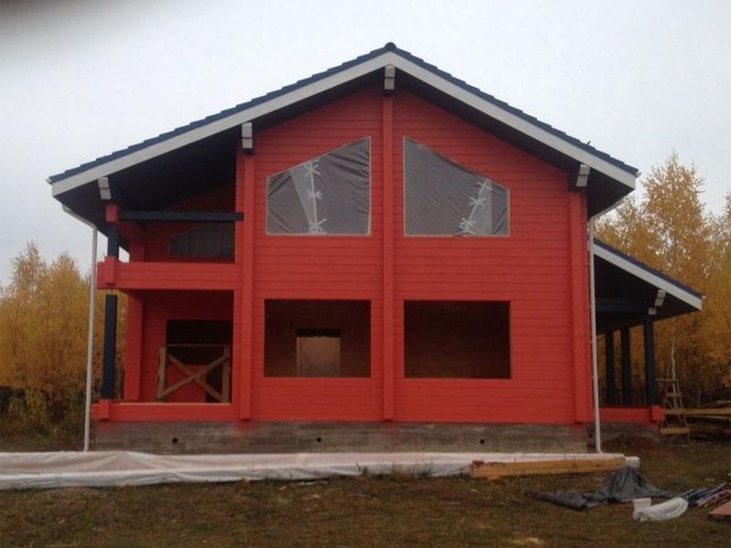 Внешняя отделка домов из бруса под покраску в разнообразные цвета