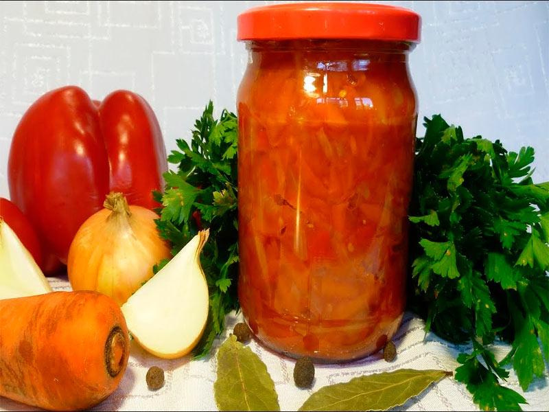 Лечо из помидор, лука, моркови и сладкого перца